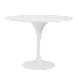 "Astrid 40"" Round Dining Table in Matte White Top with High Gloss White Tulip Base"