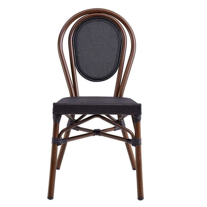 Erlend Stacking Side Chair in Black Textylene Mesh with Brown Frame