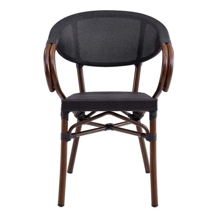 Jannie Stacking Arm Chair in Black Textylene Mesh with Brown Frame