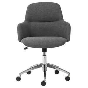 Minna Office Chair in Dark Gray with Polished Aluminum Base