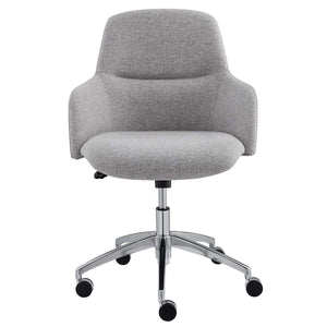 Minna Office Chair in Light Gray with Polished Aluminum Base