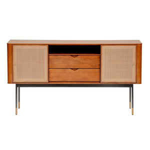 "Miriam 59"" Sideboard in Brown with Natural Wicker"
