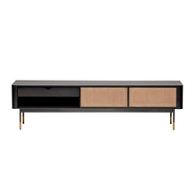 "Load image into Gallery viewer, eurostyle Miriam 71"" Media Stand in Black with Natural Wicker 94218BLK 727511973332"