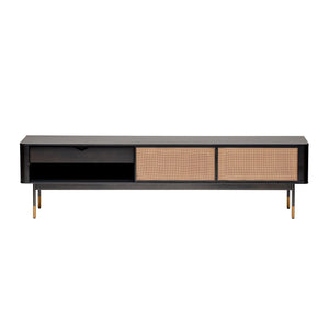 "eurostyle Miriam 71"" Media Stand in Black with Natural Wicker 94218BLK 727511973332"
