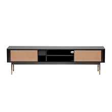 "Load image into Gallery viewer, eurostyle Miriam 71"" Media Stand in Black with Natural Wicker"