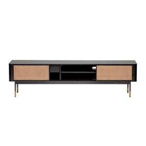 "eurostyle Miriam 71"" Media Stand in Black with Natural Wicker"