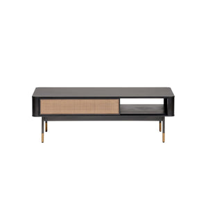 "Miriam 47"" Coffee Table in Black with Natural Wicker"