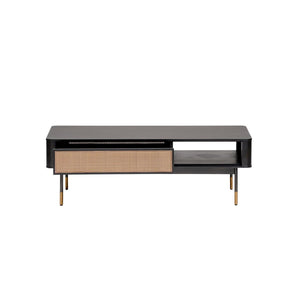 "eurostyle Miriam 47"" Coffee Table in Black with Natural Wicker"