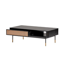 "Load image into Gallery viewer, eurostyle Miriam 47"" Coffee Table in Black with Natural Wicker"