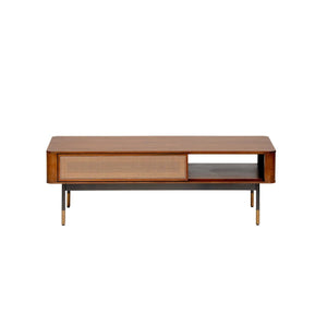 "Miriam 47"" Coffee Table in Brown with Natural Wicker"