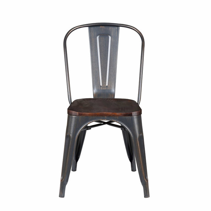 Danne Stacking Side Chair in Antique Black with Walnut Seat - Set of 4