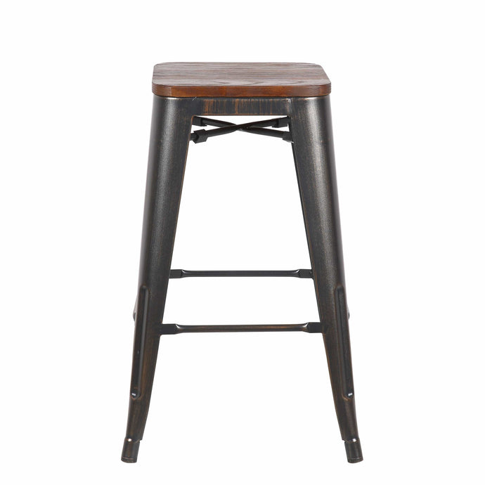 Danne-C Counter Stool in Antique Black with Walnut Seat - Set of 4