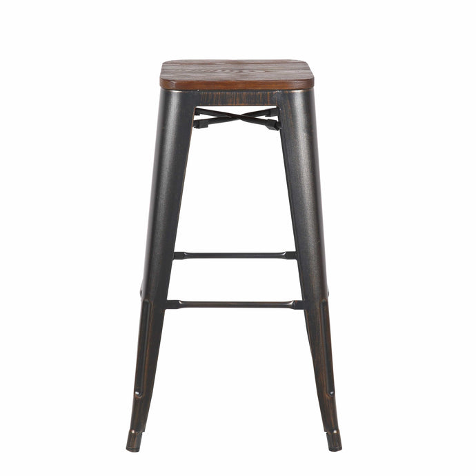 Danne-B Bar Stool in Antique Black with Walnut Seat - Set of 4