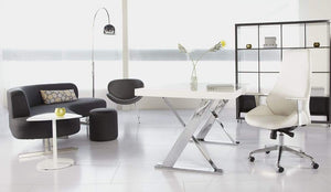 eurostyle Bergen High Back Office Chair in White with Chromed Steel Base 00474WHT 727511922842