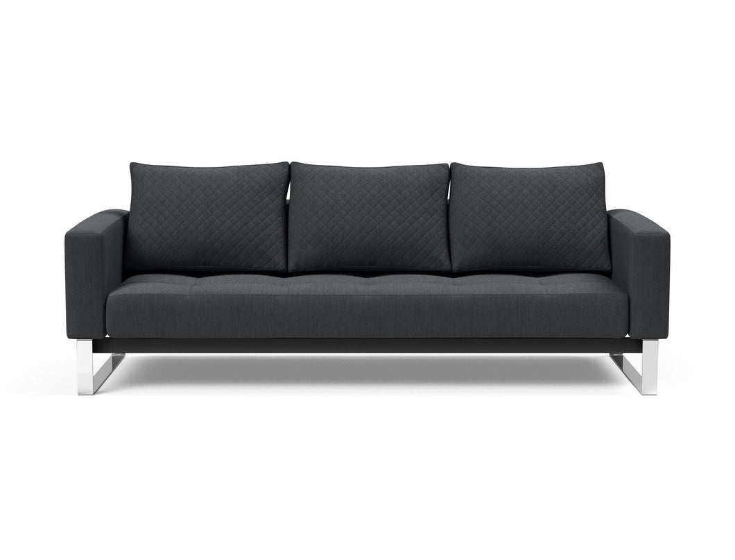Cassius Quilt Deluxe Sofa with Chrome Legs