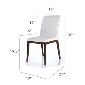 Colibri Lucia Chair in White leather with Walnut legs