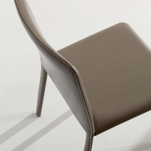 Ozzio Italia Lunette Chair in Black leather with Black leather legs