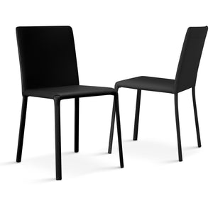 Ozzio Italia Lunette Chair in Black leather with Black leather legs LUNETTE-C09