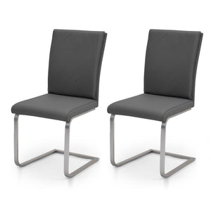 Amelia Chair in Charcoal leather with Stainless steel legs