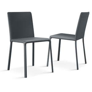 Ozzio Italia Lunette Chair in Black leather with Black leather legs LUNETTE-C18