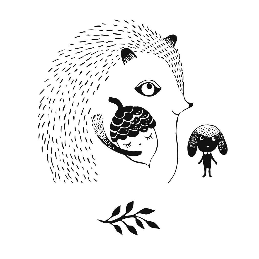 Tegning til print - Mr. Hedgehog