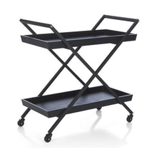 Load image into Gallery viewer, Luna Wood Rolling Bar Cart