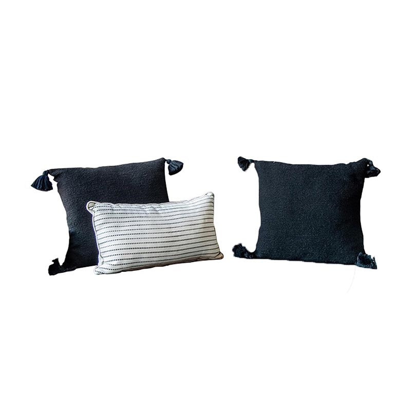 Chic Tassel Black Pillow Set of 3