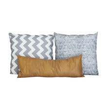 Load image into Gallery viewer, Grey & Mustard Pillow Set of 3