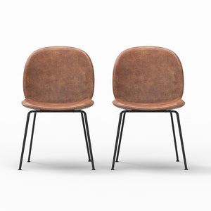 Saturn Upholstered Leather Dining Chair (Set of 2)