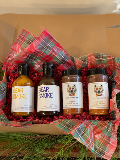 Here's you chance to build the perfect bundle of Bear Smoke BBQ's sauces and rubs. Pick any 2 of our Hand Crafted BBQ Sauces and pair them with any 2 of our Small Batch BBQ Rubs or Seasonings and Save! Mix an Match to your liking.  You get 2 - 16oz bottles of Bear Smoke BBQ Sauces and 2 - 8 oz Bottles of Bear Smoke BBQ Rub/Seasonings