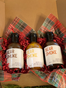 What kind of Carolina based BBQ Sauce company would we be if we didn't have a Bear Smoke BBQ Sauce Gift set featuring the 3 classic Carolina Style BBQ Sauces that feature the best of both North and South Carolina BBQ styles.  Includes:  16 oz bottle of Recipe No. 1 Everyday BBQ Sauce  16 oz bottle of Recipe No. 3 - Swine Sauce  16 oz bottle of Recipe No. 5 - S.C. Mustard Barbecue Sauce