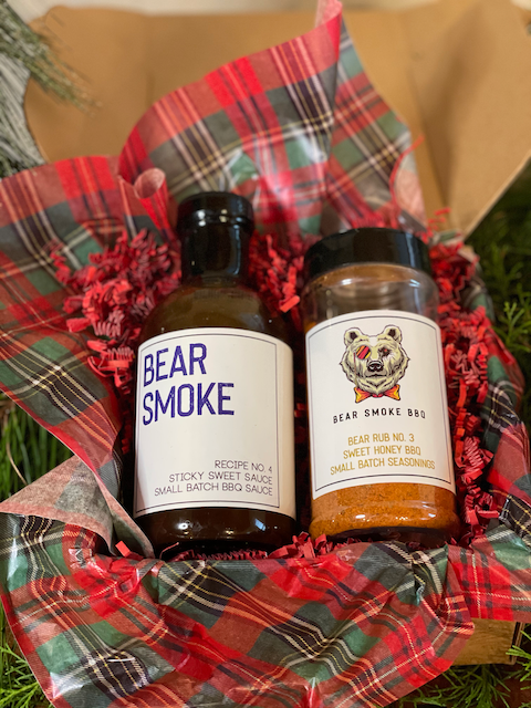 This is the perfect pair of Bear Smoke BBQ Sticky Sweet BBQ Sauce and our Honey Bear BBQ Rub for those who like their bbq nice and sweet. This is Hazel's (one of the mini bears) favorite combination and it is almost as sweet as she is.  Includes:  16 oz bottle of Recipe No. 4 - Sticky Sweet BBQ Sauce  8 oz (net wt.) bottle of Rub No.3 - Sweet Honey BBQ