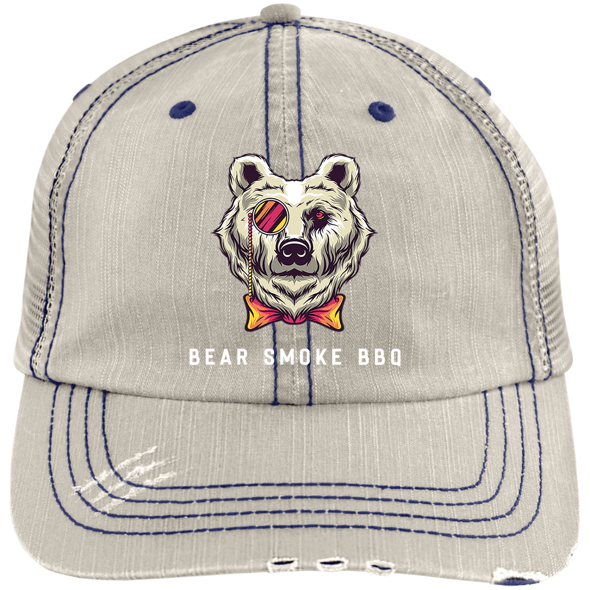 Bear Smoke Distressed Unstructured Trucker Cap - Bear Smoke BBQ