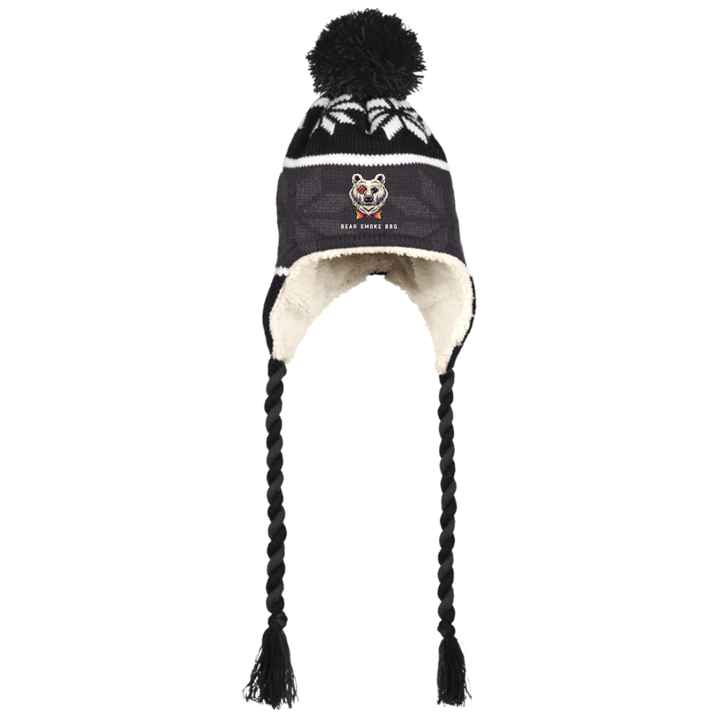 Bear Smoke Hat with Ear Flaps and Braids - Bear Smoke BBQ