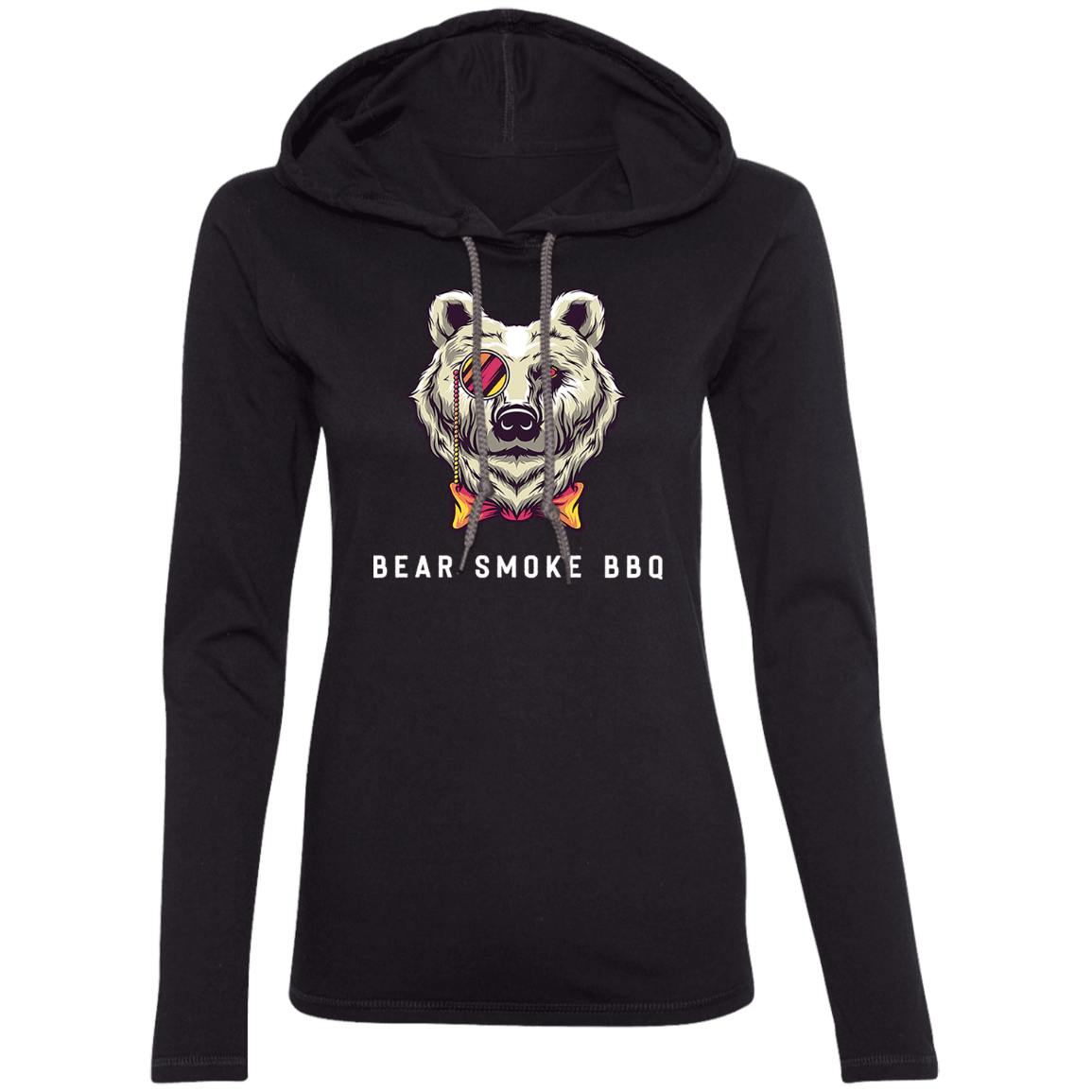 Bear Smoke Ladies' LS T-Shirt Hoodie - Bear Smoke BBQ