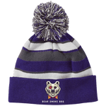 Bear Smoke Striped Beanie with Pom - Bear Smoke BBQ