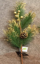 Load image into Gallery viewer, Pine Cones & Gold Berries Sprig (60cm)