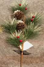 Load image into Gallery viewer, Pine Cones & Red Berries Sprig (60cm)