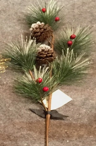 Pine Cones & Red Berries Sprig (60cm)