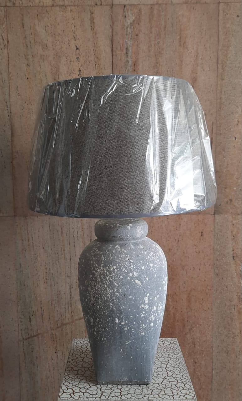 60cm Table Top Ceramic Lamp (with Grey Shade) - Green Gardens Mihiliya (Pvt) Ltd