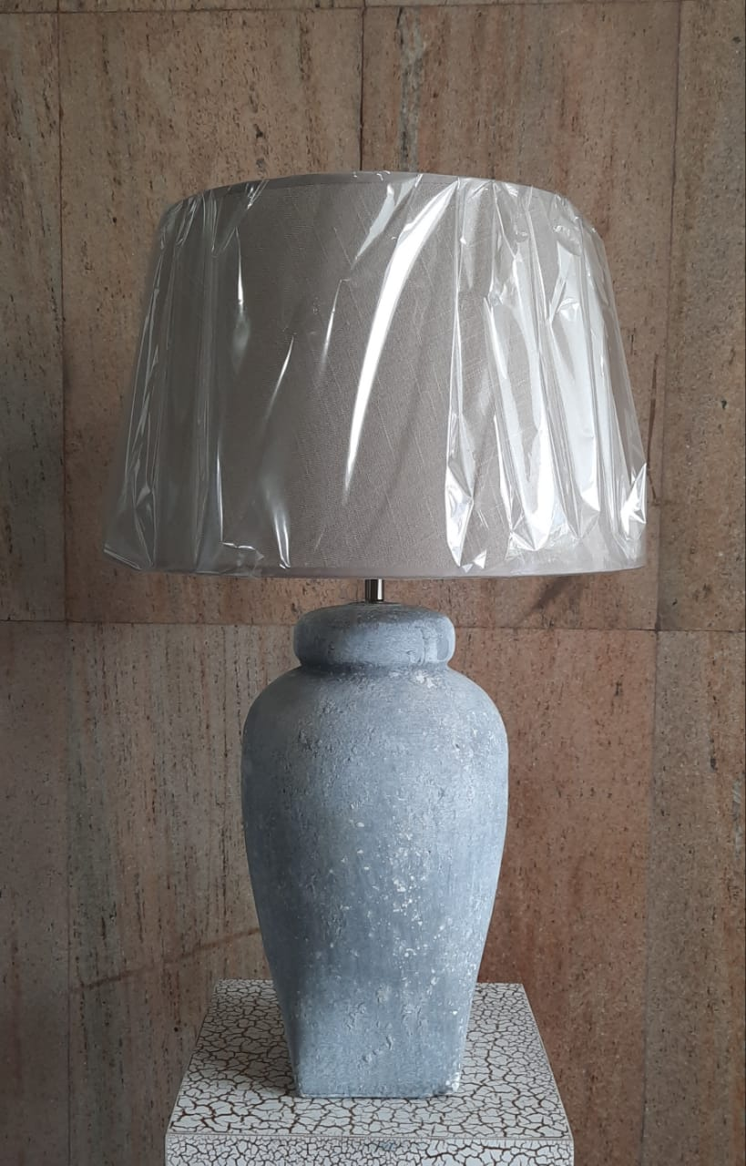 60cm Table Top Ceramic Lamp (with Beige Shade) - Green Gardens Mihiliya (Pvt) Ltd