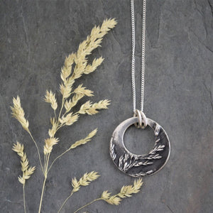 circle hoop necklace fine silver prairie ticklegrass