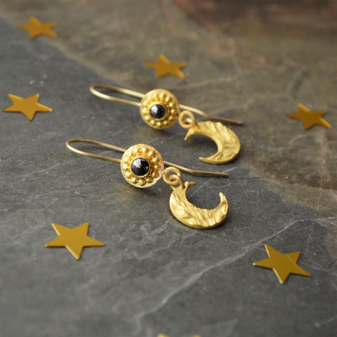 22k Gold and Black Diamond Earrings with Kentucky Bluegrass Moons - Gayle Dowell