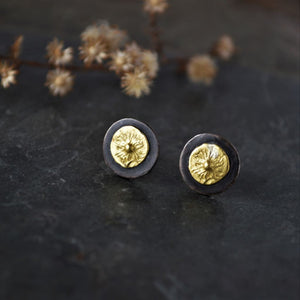Aster Stud Earrings, 22k Gold and Oxidized Sterling Silver - Gayle Dowell