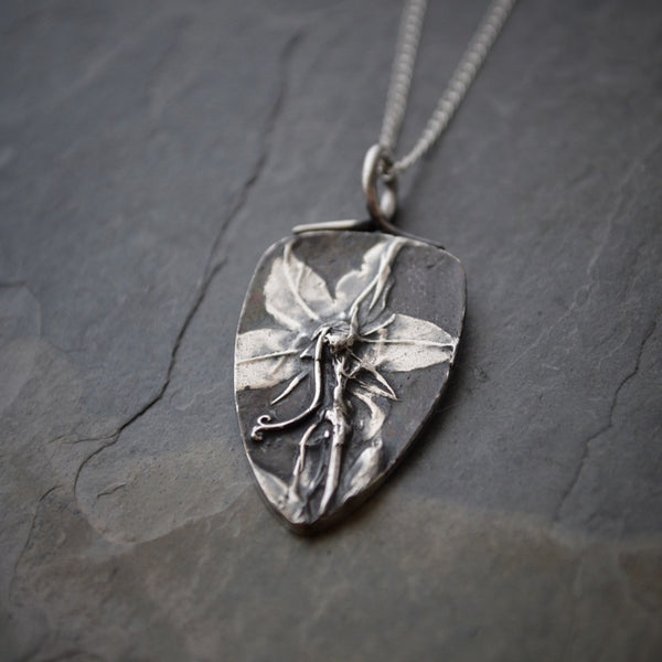 Wildflower Necklace, American Bellflower Pendant in Fine Silver - Gayle Dowell
