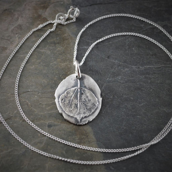 Aspen Leaf Necklace, Fine Silver Jewelry - Gayle Dowell