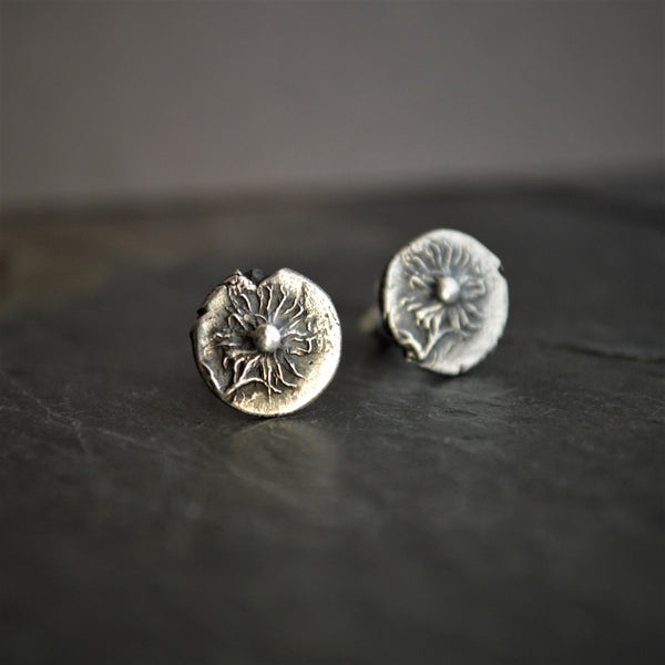 Asters Stud Earrings, Rustic Fine Silver, September Birthday Gift - Gayle Dowell