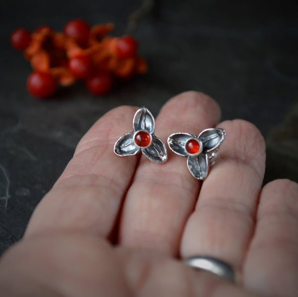 Bittersweet Stud Earrings, Red Carnelian Gemstone Jewelry - Gayle Dowell