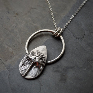 Unique Necklace, Black-Eyed Susan Pendant in Sterling Silver - Gayle Dowell