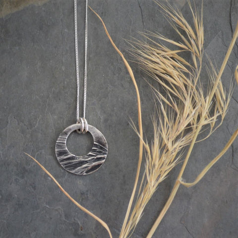 Fine Silver Hoop Necklace, Brome Grass Texture - Gayle Dowell